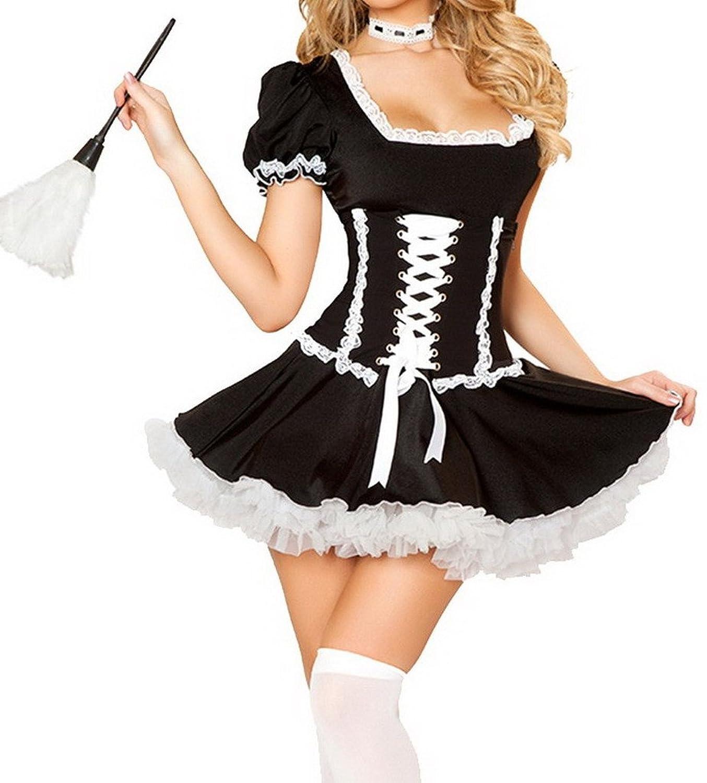 Bigood Lace Spitze Dienstmädchen Kostüm Cosplay Rollenspiel Kostüm Schwarz kaufen