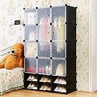C&AHOME -12 Cubes Clothes Closet, Wardrobe Black, 35X35cm Deep