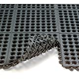 Wearwell 24/Seven Anti-Fatigue Mat - All-Purpose Grease-Resistant Rubber - Drainage Tile - 3x3'