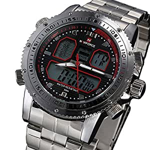 2015 New NAVIFORCE Men Watches Top Brand Luxury Full Steel Analog LED Digital Watch Men Quartz Military Watch Sports Wristwatch available at Amazon for Rs.1806.0500488281