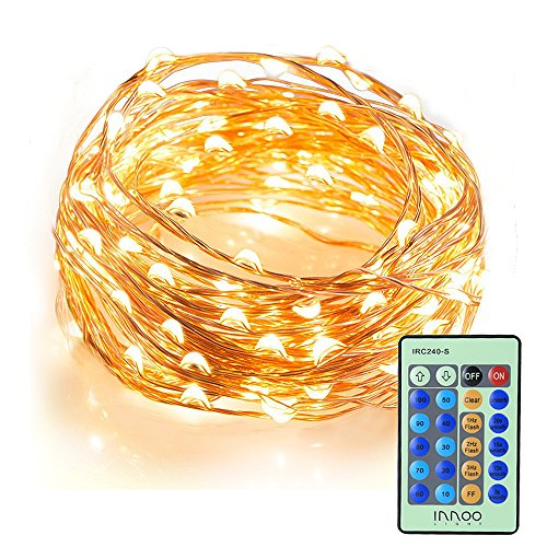 LED-Lichterkette-InnooLight-10M-100er-LED-Kupferdraht-Lichterketten-10-Helligkeitsstufen-mit-Fernbedienung-Warmwei-Wasserdichte-Sternen-Beleuchtung-fr-Garten-Wohnungen-Tanzen-Weihnachtsfeier-Magische-