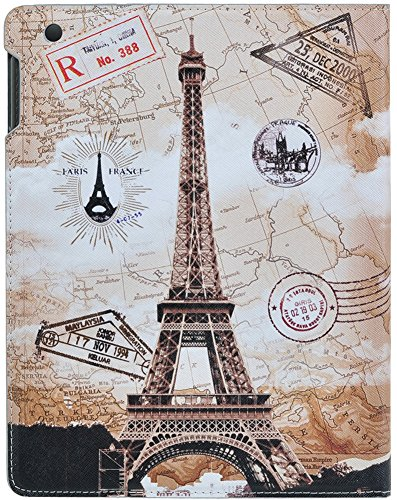 Topideal Ultra-Thin Slim Flip/Folio Smart Cover Stand Defender Case For Apple ipad 2/ipad 3/ipad 4 (Eiffel Tower/Stamp)