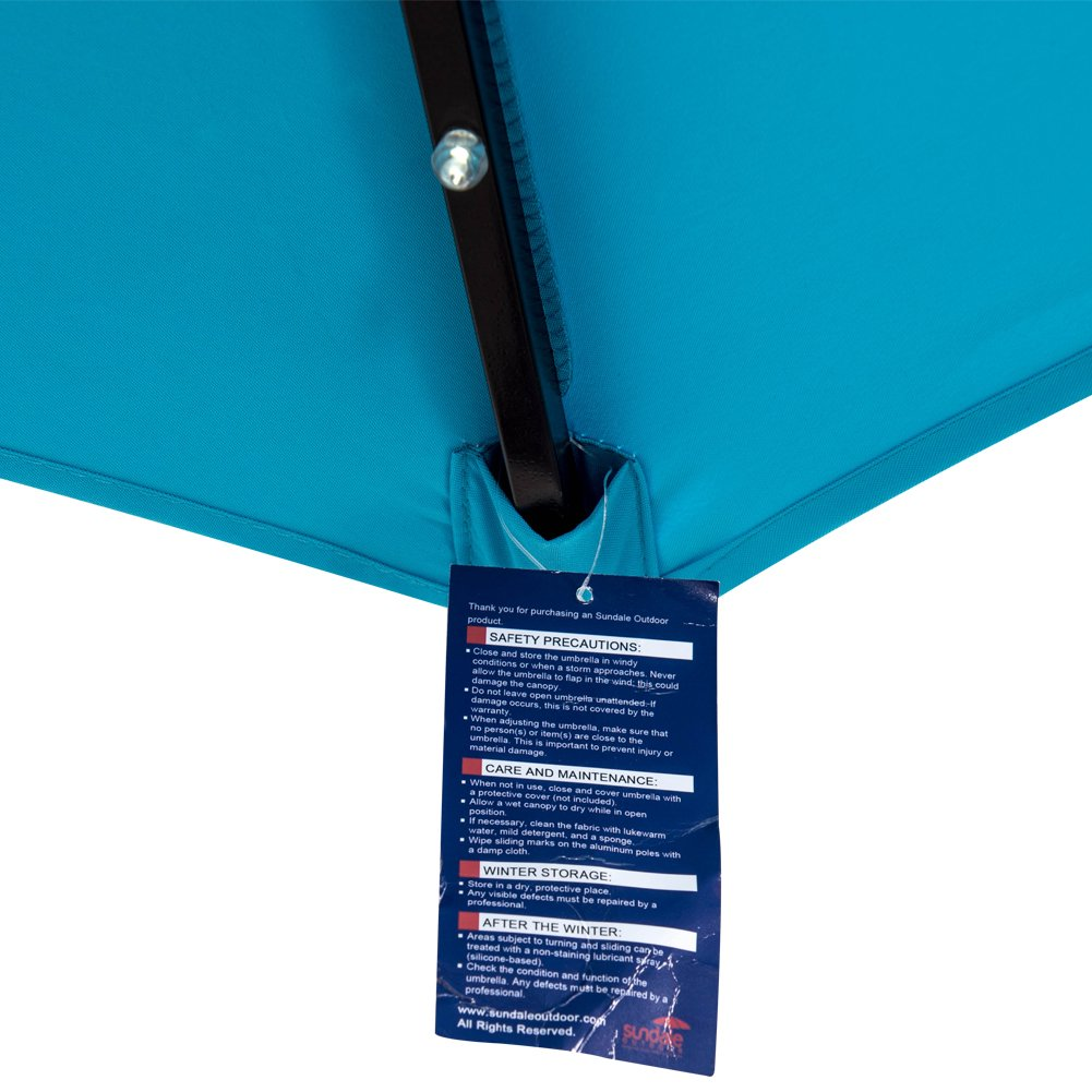 Sundale Outdoor 9ft 24 Led Light Outdoor Market Patio Umbrella Garden Pool with Crank, 6 Ribs (Light Blue)