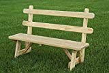 "Pressure Treated Pine 42"" Traditional Picnic Bench with Back Amish Made USA- Unfinished"