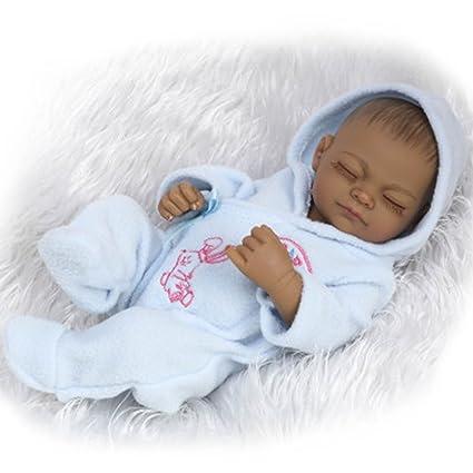 """Terabithia Mini 11"""" Black Realistic Reborn bébé Poupées Silicone Vinyl Full Body African American imperméable à l'eau pour garçon"""