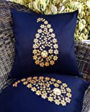 "Golden Chance...!!! Golden Leaf (Gotta Pati) Hand Embroidery Black Cushion Covers (Set of 2) (16""x 16"")- Premium Quality By Royal DecoFurnishing"