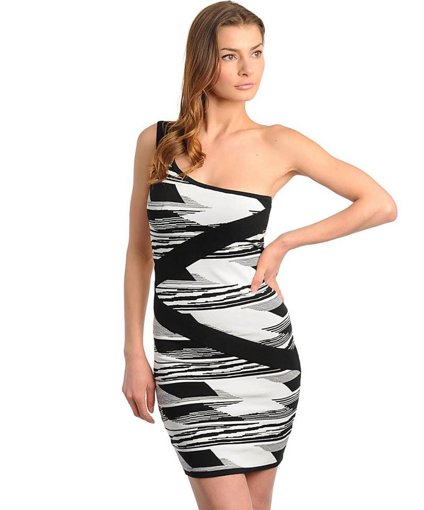 Stanzino Women's Single Shoulder Colorblock Banded Dress: