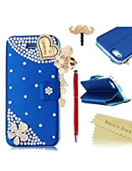 Mavis's Diary iPhone5 Case, Flip Case for iPhone5 Case -Leather Case for iPhone5 Case PU Leather Bright Strass...