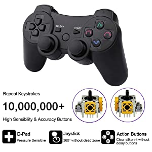 CHENGDAO PS3 Controller Wireless Double Shock Gamepad for Playstation 3 Remote,Six-axis Wireless PS3 Controller with Charging Cable - Black (Color: Black)