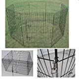 NEW PET PLAYPEN PLAY RUN PEN METAL HUTCH CAGE BLACK