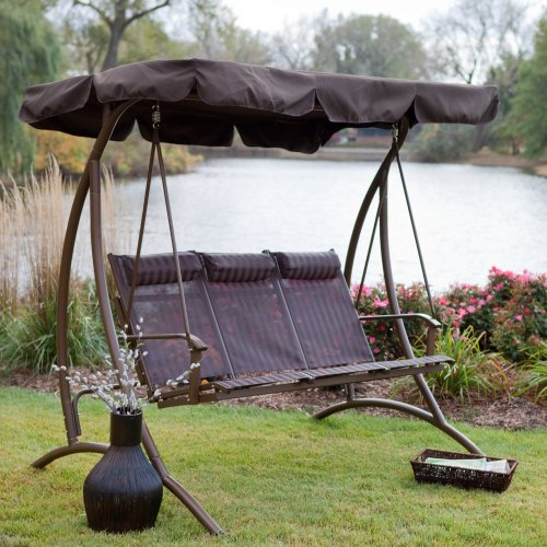 3 Person Patio Swing With Canopy Perfect To Stretch Out