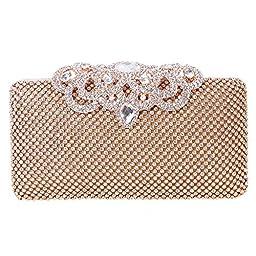 Fawziya Crown Clutch Purse Bling Hard Box Rhinestone Crystal Clutch Bag-Gold