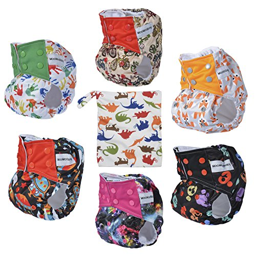 Cloth Diapers,All-in-one Shell-Snap Diaper Covers,Adjustable Size Fits Newborn Infants to Toddlers,6 Pcs + 6 Built-in Inserts + 1 Diaper Bag (Cloth Diaper Packages All In One compare prices)