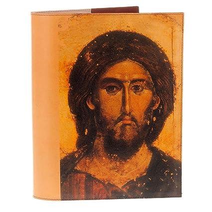 Funda leccionario Ícono Cristo y Virgen piel verdadera