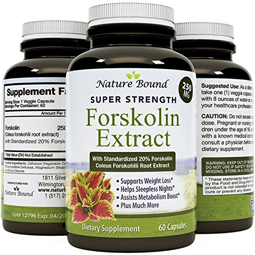 Pure Forskolin Extract - Coleus Forskholli - Potent Supplement for Men & Women - Natural Weight Loss Pills - Supports Metabolism - Appetite Suppressant - 60 Capsules - USA Made by Nature Bound