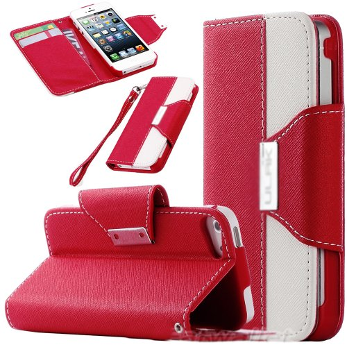 Mylife (Tm) Red And White Fashion Design - Textured Koskin Faux Leather (Card And Id Holder + Magnetic Detachable Closing) Slim Wallet For Iphone 5/5S (5G) 5Th Generation Smartphone By Apple (External Rugged Synthetic Leather With Magnetic Clip + Internal front-49064
