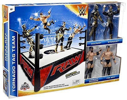 WWE Wrestling Superstar Rings Tornado Tag Team Exclusive Action Figure Playset [with Golddust, Stardust, Damien Mizdow & The Miz] by WWE (Golddust Action Figure compare prices)