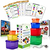 1 DAY SALE - 7 Piece Portion Control Containers Colored Set Meal Prep Kit for Weight Loss+21 Day PDF Planner+Recipe E-Book+Healthy Lifestyle E-Book+W/Guide+Measuring Tape-Same as 21 Day Fix Beachbody