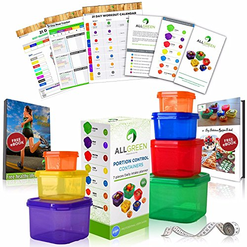 1 DAY SALE - 7 Piece Portion Control Containers Colored Set Meal Prep Kit for Weight Loss+21 Day PDF Planner+Recipe E-Book+Healthy Lifestyle E-Book+W/Guide+Measuring Tape-Same as 21 Day Fix Beachbody (21 Day Meal Containers compare prices)