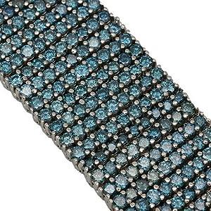 14K White gold Blue Diamond Mens Bracelet 64.35 Ctw