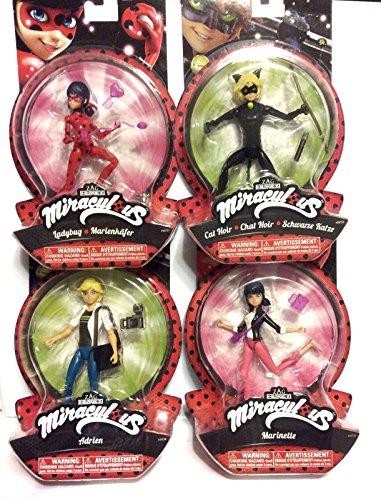 """Miraculous Complete Set of 4 Action Figures 5.5"""" ; Cat Noir, Ladybug, Adrien & Marinette"""