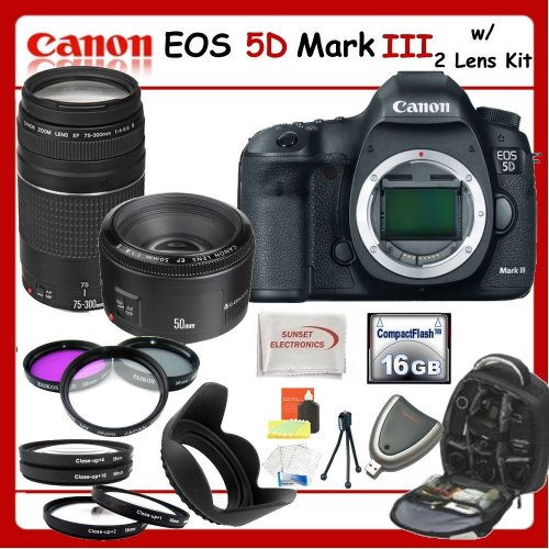 Canon EOS 5D Mark III SLR Digital Camera w/ SSE Ultimate Lens Kit - Includes: Canon EF 75-300mm f/4-5.6 III Telephoto Zoom Lens + Canon EF 50mm f/1.8 II Camera Lens + Professional Filter Kit + Close Up Macro Kit + Weatherproof Backpack & Much more!!