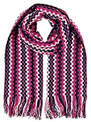 Missoni D4902 0001 Pink/Purple Wool Blend Crochet Knit Scarf