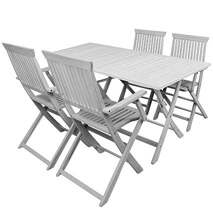 SSITG Sitzgruppe Sydney Sitzgarnitur Holz Gartentisch Gartenmöbel Gartengarnitur Weiß