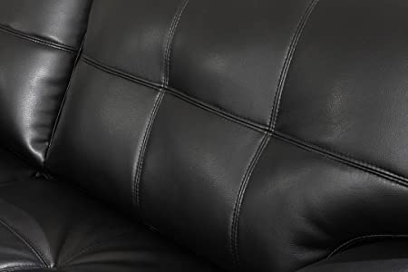 Black Stone Contemporary Black Bonded Leather Sofa by Furniture of America