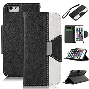 Seaplays iPhone 6 Case, iPhone 6 4.7 Case, PU Leather Wallet Stand Case Cover for iPhone 6 4.7 inch with Card Slots (Black)