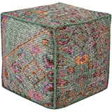 """18"""" Mint Green, Salmon Pink and Pumpkin Orange Hand Knotted Wool Square Pouf Ottoman"""