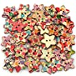 Star Shaped Painted 2 Hole Wooden Buttons 25mm x25mm (Pack Of 25pcs)