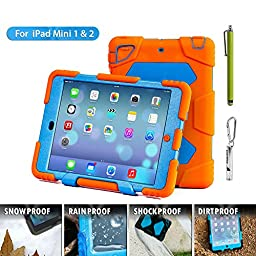 Ipad Case,Ipad Mini 2 Case,Ipad Mini 3 Case,ACEGUARDER®ipad mini case Case for kids Rainproof Shockproof Anti-Dirt Drop Resistance Case(orange-blue)