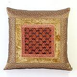 Jodhaa Cushion Cover With Velvet/Brocade In Beige/Gold - B010NM1YAY