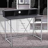 Modern Home Corner Computer Table Office Laptop Desk with Storage Ladder Black Panel & Silver Metal Frame