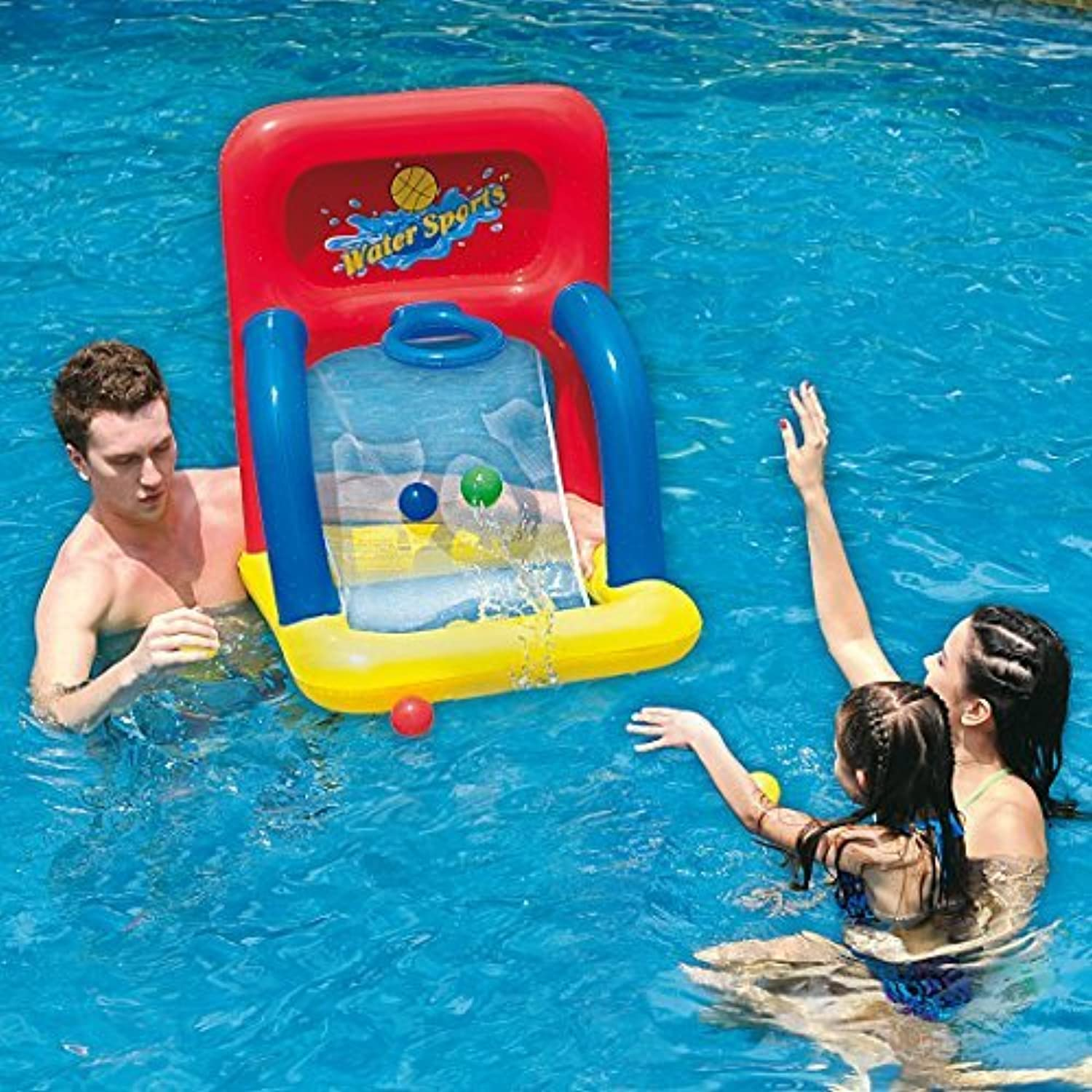 34 Red Yellow And Blue Inflatable Swimming Pool Water Sports Basketball Shooting Game By Pool