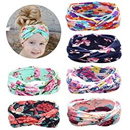 Quest Sweet® 6Pcs Baby Headbands Girls Cross Knotted Head Wrap Hair Band(Fit 0-3 year old baby)