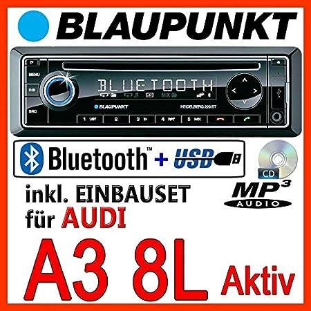 AUDI A3 8L - BLAUPUNKT Heidelberg 220 BT - CD/MP3/USB Autoradio inkl. Bluetooth - fur orig. Aktivsystem - Einbauset