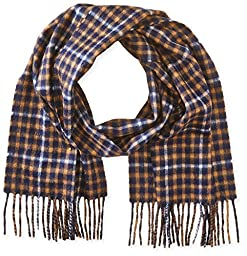 Phenix Cashmere Men\'s Gingham Window Pane Scarf, Navy/Camel, One Size