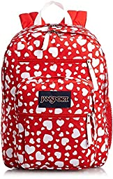 JanSport Big Student Girly Prints Backpack B1026: High Risk Red Heart To Resist