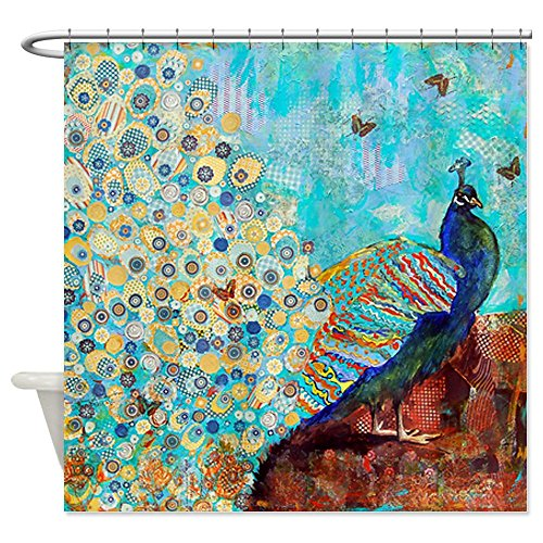 peacock and peacock feather shower curtain