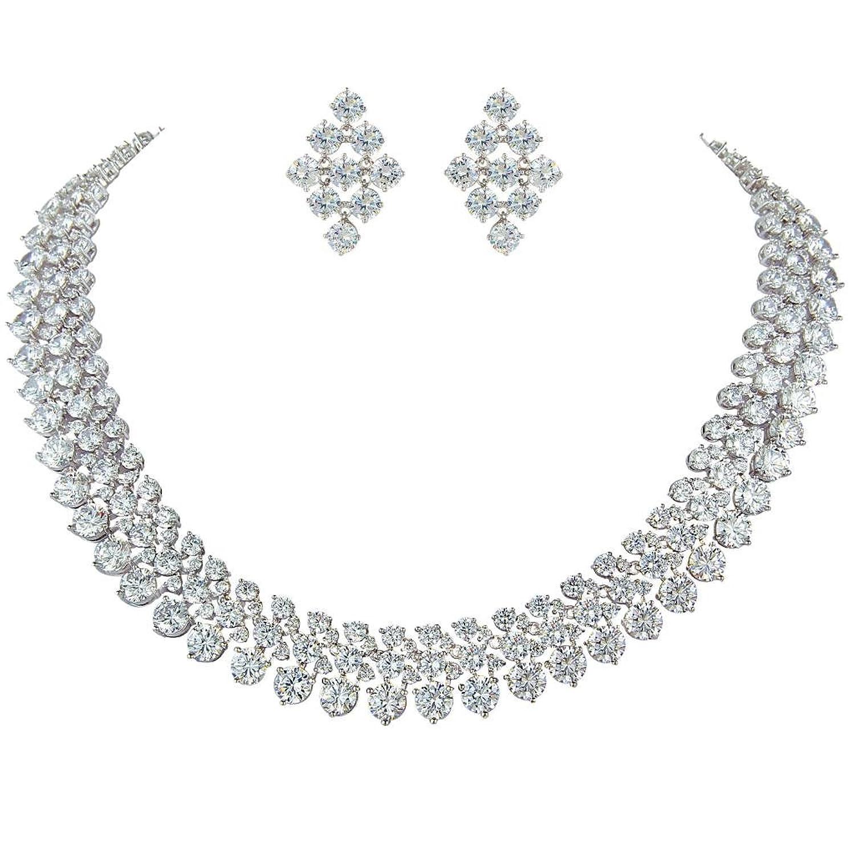 Ever Faith CZ Victorian Stil Hochzeit Halskette Rhombus Ohrringe Set Silber-Ton klar N05222-1 kaufen