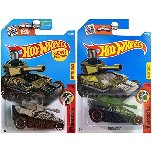 Hot Wheels 2016 HW Daredevils Tanknator Military Army Tank Green and Tan Camouflage SET OF 2 (Hot Wheel Tank compare prices)