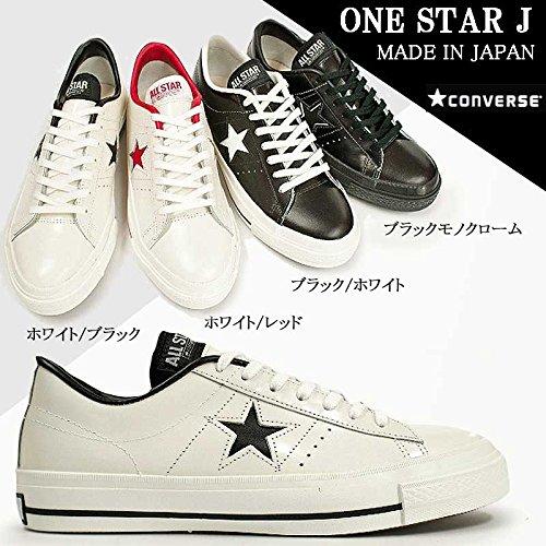 [コンバース] CONVERSE ワンスター J レザースニーカー コアカラー 国産 アップデート ONE STAR J Made in JAPAN ホワイト/ブラック 25.0cm(USA6.5)