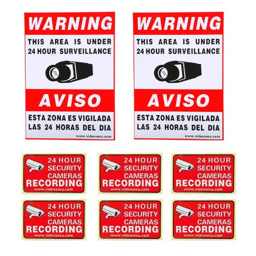 VideoSecu 8 Pack Home CCTV Surveillance Security Camera Video Warning Stickers Signs 2 of 11.5x8.3, 6 of 3x2 Security Alarm Decals 1RO new safurance 200w 12v loud speaker car horn siren warning alarm stainless steel home security safety