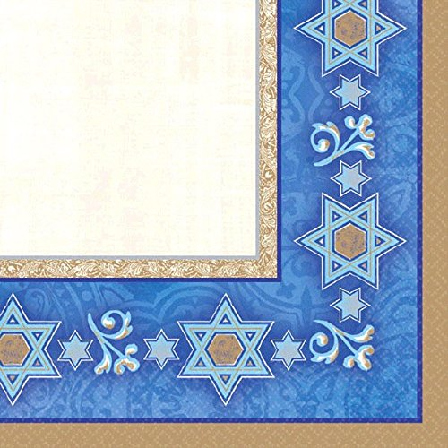 "Amscan Deferential Beverage Napkins Jewish Celebrations Party Supplies, 5 x 5"", Gold/Blue/Ivory"