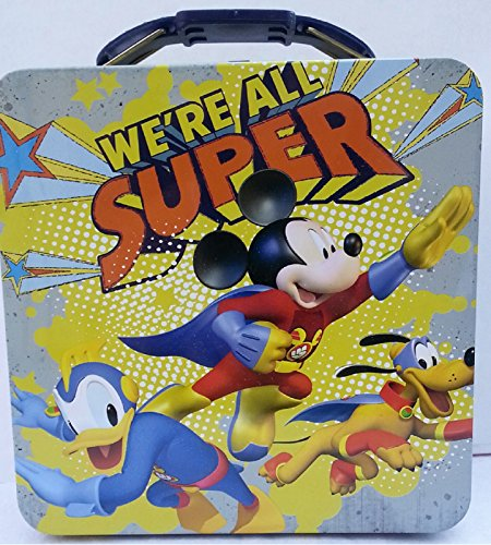 "Disney Mickey Mouse Tin Box Carry All ""We're All Super."""