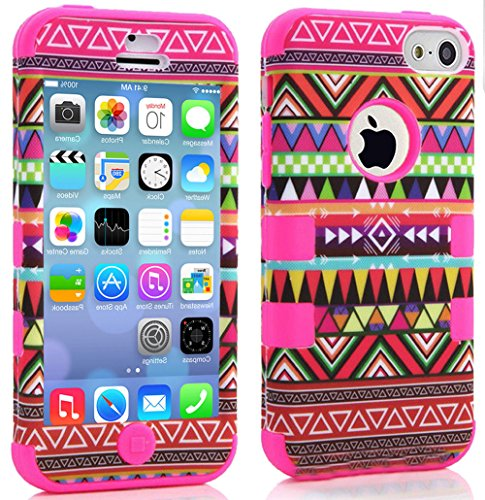 "Mylife Hot Pink - Colorful Tribal Pattern Series (Neo Hypergrip Flex Gel) 3 Piece Case For Iphone 5/5S (5G) 5Th Generation Smartphone By Apple (External 2 Piece Fitted On Hard Rubberized Plates + Internal Soft Silicone Easy Grip Bumper Gel) ""Attention: Th"
