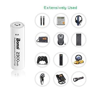 BONAI AA Rechargeable Battery 2300mAh 1.2V Ni-MH High Capacity Batteries 8 Pack - UL Certificate (Tamaño: AA 2300mah)