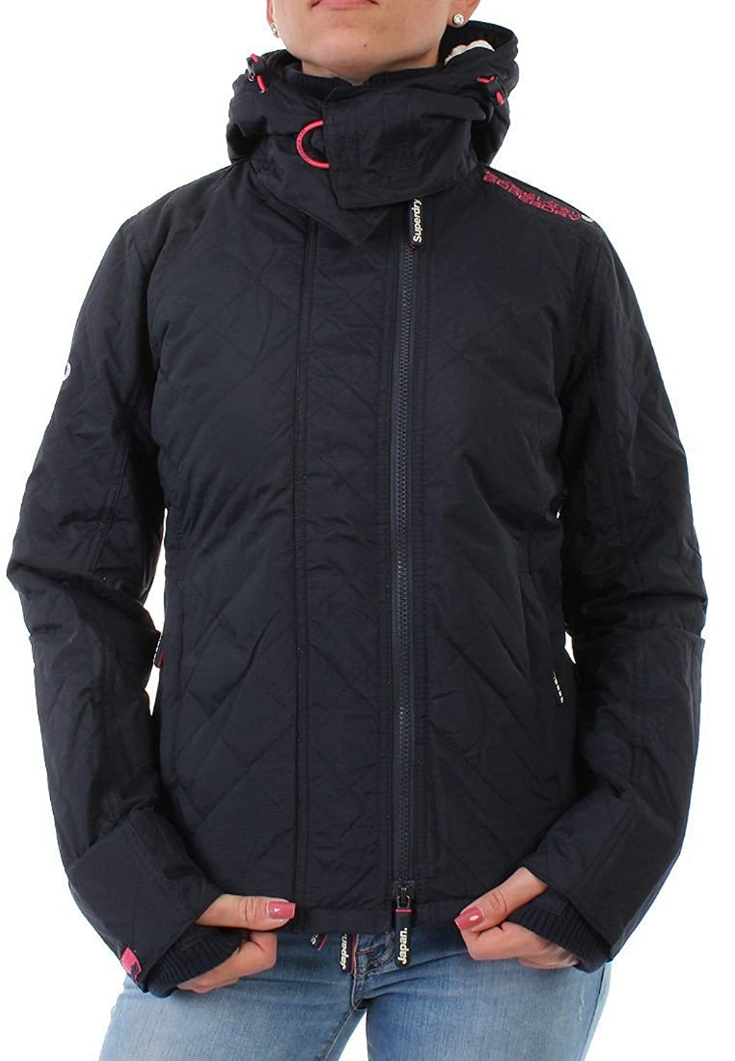 Superdry Windbreaker Women HOODED SHERPA QUILTED French Navy Punk Pink
